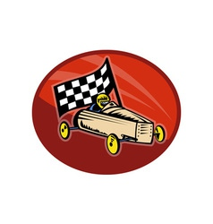 Soap box derby racing with race flag vector