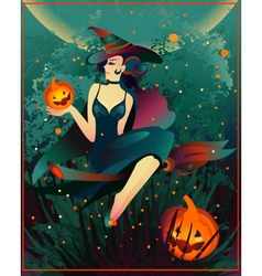 Halloween witch on a broomstick vector