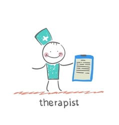 Therapist holding folder in hand vector