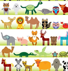 Set of funny cartoon animals character on white vector
