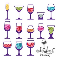 Classic martini wineglass collection vector