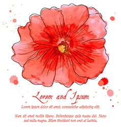 Watercolor design element hollyhock for the vector