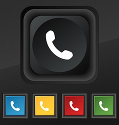 Phone support call center icon symbol set of five vector