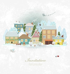 Cute invitation card with winter city life merry vector