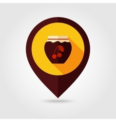 Cherry jam jar flat mapping pin icon vector