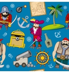Cartoon pirates seamless pattern background vector