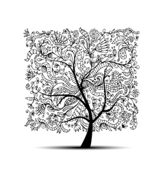 Floral tree black silhouette for your design vector image