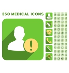User problem icon and medical longshadow icon set vector