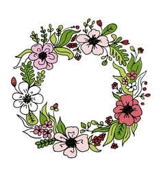 Floral wheath circle frame for your design vector image