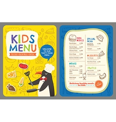 Cute colorful kids meal restaurant menu template vector