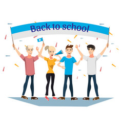 Back to school banner with ribbon vector