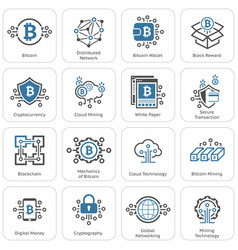 Bitcoin and blockchain cryptocurrency icons vector