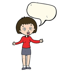 Cartoon woman making excuses with speech bubble vector