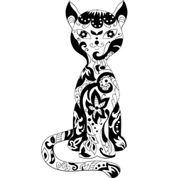 Cat decorative silhouette vector image