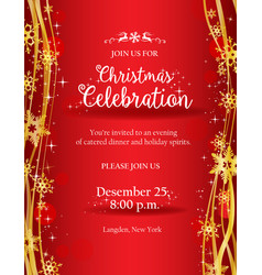 christmas party invitation with gold decorative vector image vector image