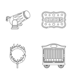Circus trailer circus gun burning hoop vector