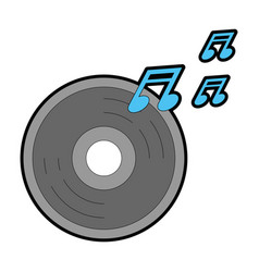 compact disk with music notes vector image