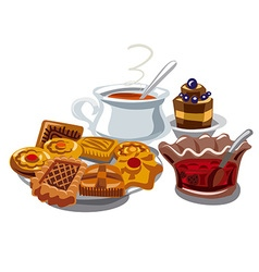 Cookie jam and hot tea vector