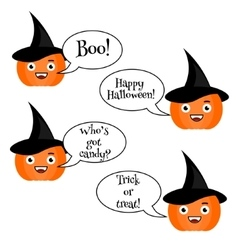 Cute halloween pumpkin emoji set emoticons vector