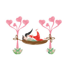 Drawing couple love hammock vector