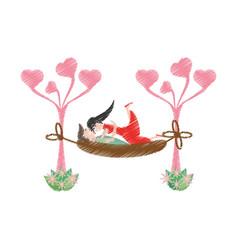 Drawing couple love hammock vector