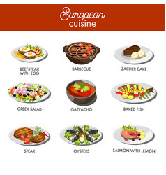 European cuisine food dishes for restaurant vector