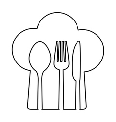 Figure chef hat with cutlery inside vector