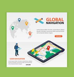 global navigation flat 3d isometric mobile gps vector image