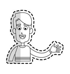 happy man waving hand cartoon icon image vector image vector image