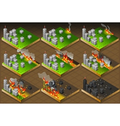 Isometric fire disaster classifications scale vector