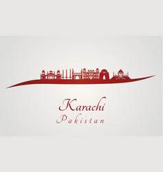Karachi skyline in red vector image vector image