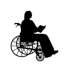 Man or woman in wheelchair silhouette vector image