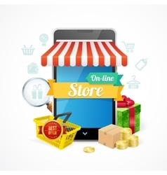 Online Store Mobile Phone Concept vector image