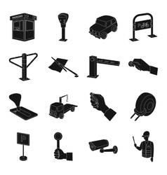 Parking zone set icons in black style big vector