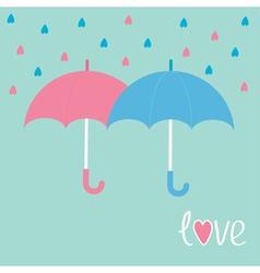 Pink and blue umbrellas rain in shape of hearts lo vector