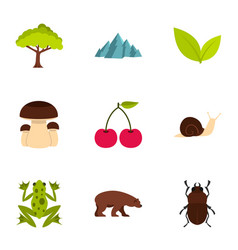 Plant animal insect icons set flat style vector