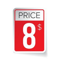 Price tag sticker - eight usd vector