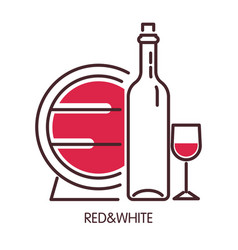 red and white wine promotional poster with barrel vector image vector image