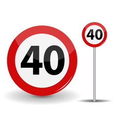 Round red road sign speed limit 40 kilometers per vector