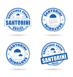 Santorini greek island grunge rubber in blue and vector