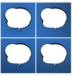 set of blue pop art retro speech bubble vector image vector image