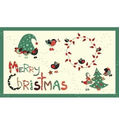 Set of decoration elements for Christmas vector image vector image