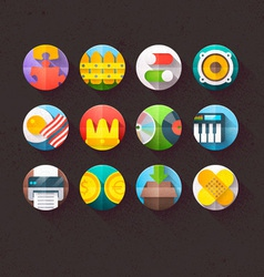 Textured Flat Icons for mobile and web Set 6 vector image