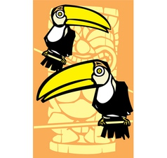 Two Toucans and Tiki vector image vector image
