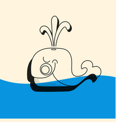 Whale icon with water fountain blow vector