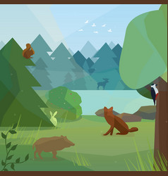 wild forest in low polygon style vector image vector image