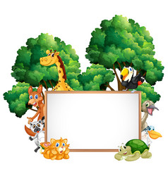 wooden frame with many animals in forest vector image