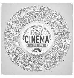 Set of cinema cartoon doodle objects vector