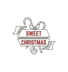 Sweet christmas typography sign with candies toys vector