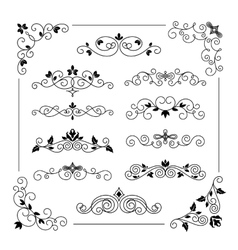 Vintage frame border set vector